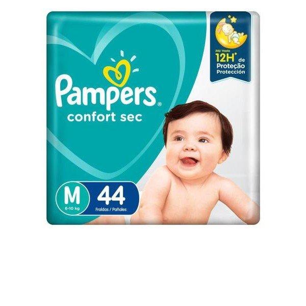 fralda pampers confort sec m mega 44und