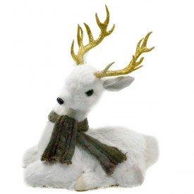 hgb1266 enfeite natalino rena deitada com cachecol cinza