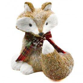 hgb1277 enfeite natalino raposa com cachecol